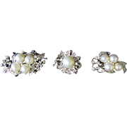 Vintage Diamond/Cultured Pearl/White Gold Clasps (3)
