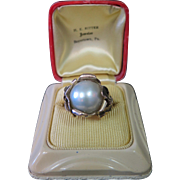 Stunning Art Nouveau 14K Gold & Mobe Cultured Pearl Ring