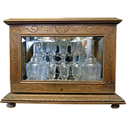Vintage 19th Century Wood & Glass Tantalus
