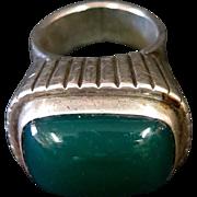 Vintage C. F. Heise Sterling Silver & Green Onyx (?Chrysoprase) Ring