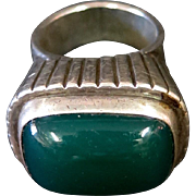 Vintage C. F. Heise Sterling Silver & Green Onyx (?Chrysoprase) Ring