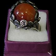 Vintage 1960's Jerusalem Sterling Silver/Carnelian Ring
