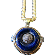 Vintage Mid 20th Century Lapis, Diamond & Gold Necklace