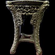 Vintage Carved Chinese Teak/Marble Pedestal