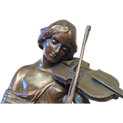 Woman with Viola, Vintage Bronze signed M. Fahnrichog