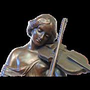 Woman with Viola, Vintage Bronze signed M. Fahnrichog