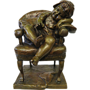 Seated Child, Vintage Patinated Bronze, signed Payson
