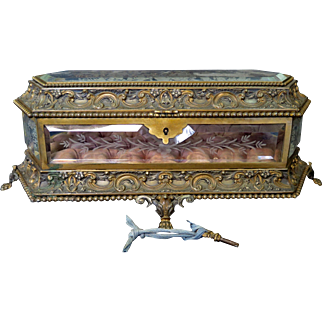 Vintage Late 19th Century Etched Glass, Gilt Bronze & Silk Jewelry Box