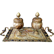 Vintage Marble, Bronze & Enamel Double Inkwell, late 19th century