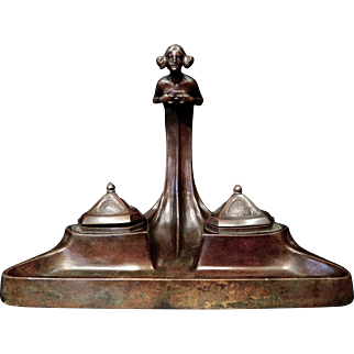 Tiffany & Co. Art Nouveau Figural Bronze Double Inkwell