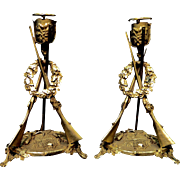 Vintage French Bronze Candlesticks