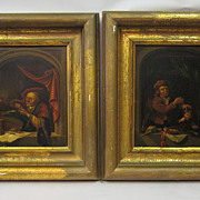 Pair of Dutch paintings of window scenes