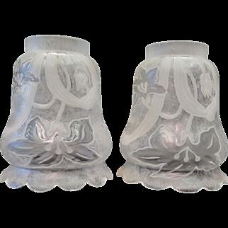 Pair of Vintage Val St. Lambert Art Glass Shades