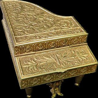 "Vintage Late 19th Century Austrian Bronze ""Piano"" Music Box"