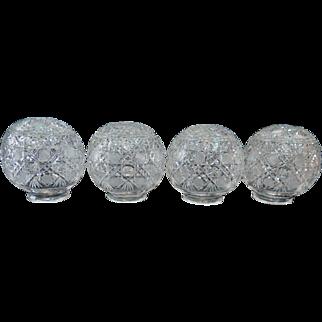 Vintage Set of Four Crystal Globe Shades