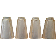 Vintage Art Deco Set of Four (4)Glass Lamp Shades by Muller Fres Luneville