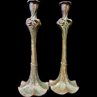 Vintage Art Nouveau Bronze Candlesticks