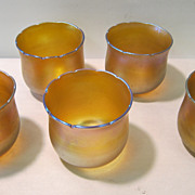 Five vintage bell shaped iridescent gold shades