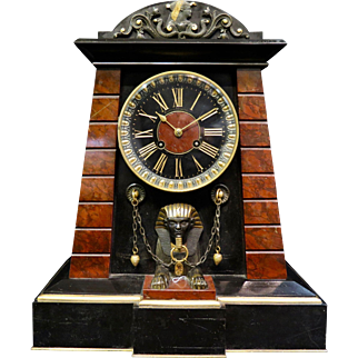 Vintage, circa 1870, Achille Brocot French Egyptian Revival Bronze & Marble Mantle Clock