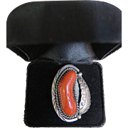 Vintage American Indian Sterling Silver & Coral Ring