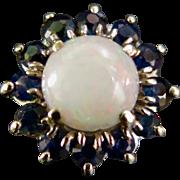 Vintage Ladies 14K Gold Opal & Sapphire Ring