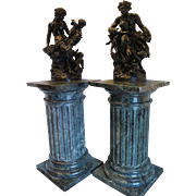 Vintage pair of Green Marble Pedestals