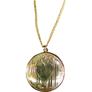 Vintage 10K Gold Heart Locket & Chain