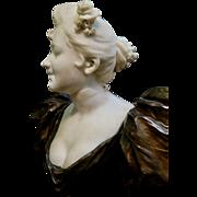Vintage Art Nouveau Bronze & Marble Statue, signed V. Bruyneel