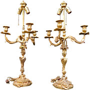 Vintage Pair of Louis XV Gilt Bronze Lamps