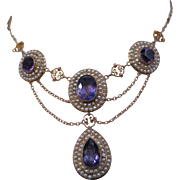 Vintage 1890's Amethyst & Pearl Choker Necklace