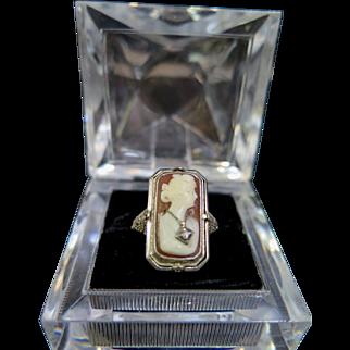 "Antique Edwardian ""Flip"" Cameo/Black Onyx/Diamond 14K Gold Ring"
