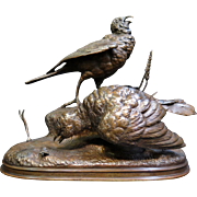 Vintage Late 19th Century Bronze Sculpture of Birds by Pautrot