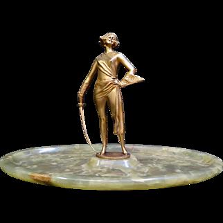 Vintage Art Deco Gilt Bronze & Marble Sculpture by Bruno Zach