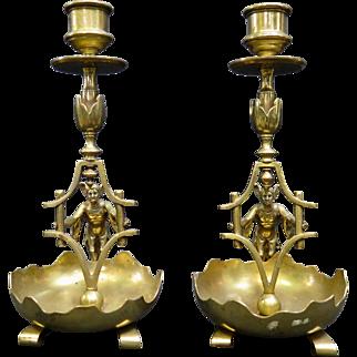 "Vintage  pair of Bronze Figural ""Jester/Joker"" Candlesticks"