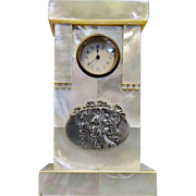 Vintage Early 20th Century Mother of Pearl Curio Cabinet Clock