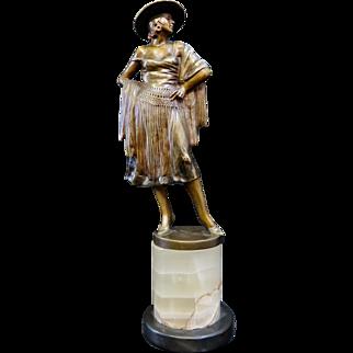 Vintage Art Deco Bronze Flamenco Dancer Sculpture, signed Barner