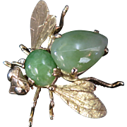 Vintage Jade & 14K Gold Bumble Bee