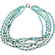 Vintage Costume Turquoise & Pearl Choker
