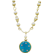 Dramatic Costume Faux Pearl & Enamel Necklace