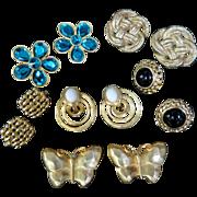 Six Vintage Costume Ear Clip Earrings