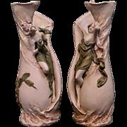Vintage Art Nouveau Period Royal Dux Figural Vases
