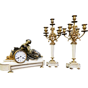 Vintage Early 19th Century Bronze & White Marble French Clock Set