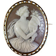 Vintage 19th Century 14K Gold Cameo Brooch