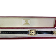 "Vintage Gubelin ""Rolled"" Gold & Leather Wrist Watch"