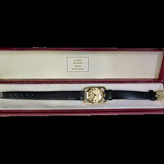 "Vintage Gubelin ""Rolled"" Gold & Leather Wrist Watch"