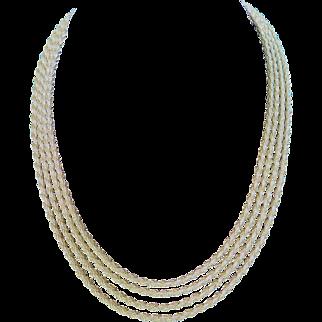Beautiful Vintage Muklti-strand 14K Gold Rope Choker Necklace
