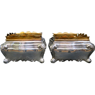 Vintage Early 20th Century Peruvian Sterling/Brass Table Planters, pair