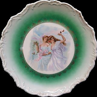 Beautiful Vintage Early 20th Century Porcelain Portrait Plate