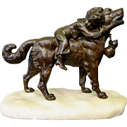 Dog & Child, bronze by Joseph Francois Victor Chemin (1825-1901)