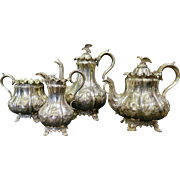 "Vintage 19th Century Sterling Silver ""Morning Glory"" Coffee & Tea Service"